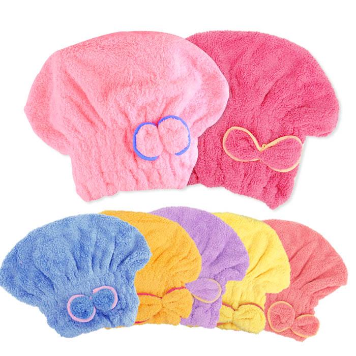 不掉毛超細纖維珊瑚絨乾髮帽 可愛蝴蝶結乾髮帽 乙入 隨機出貨不挑款/色【RHJS001C】