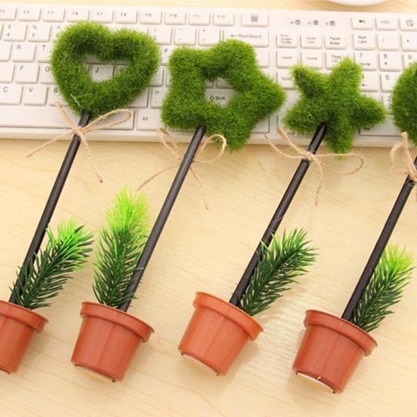 韓國田園綠色植物筆 愛心星型圓珠筆 創意盆栽原子筆 不挑色 不挑款【RSOTI18P】
