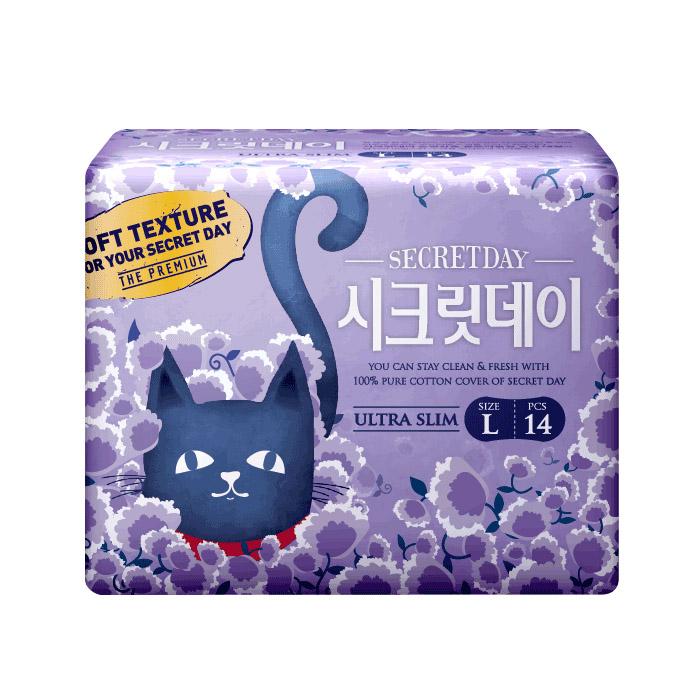 韓國 SECRET DAY 純棉超薄護翼衛生棉(L) 28cm 14片/包【ROKE556C】