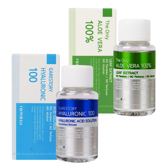 韓國 Ramosu 100%原液 50mL Aloe Vera 100 蘆薈/Hyaluronic 100 玻尿酸【ROKE536C】