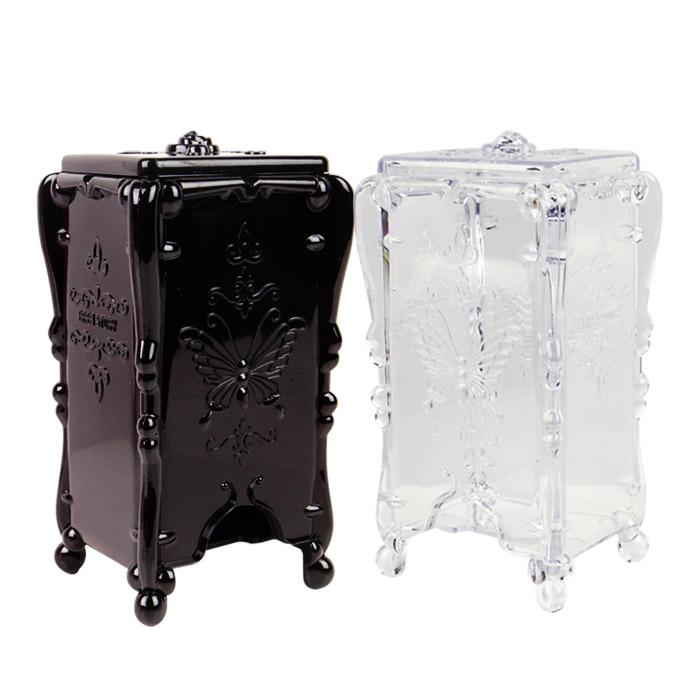 復古風格站立式化妝棉透明/黑色收納盒 乙入【ROCO151C】