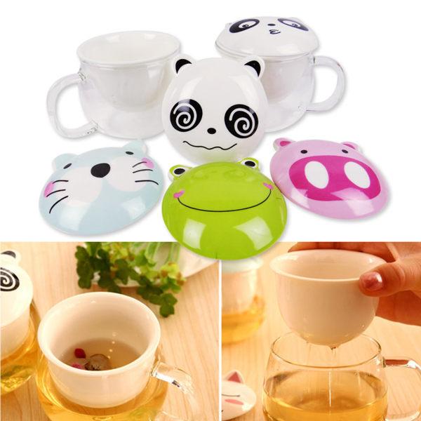 創意可愛下午茶杯/玻璃透明泡茶帶蓋過濾杯 乙入 隨機出貨不挑款/色【ROLI128C】