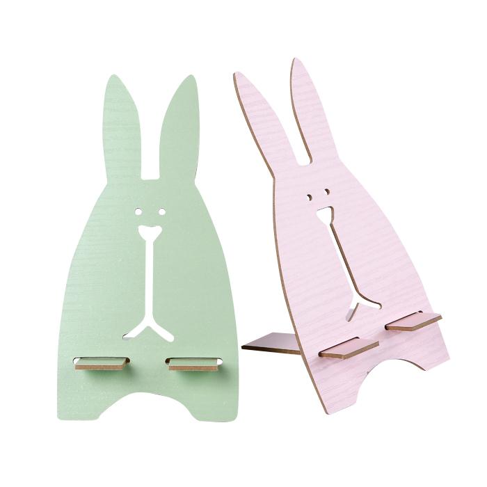 韓國創意木質懶人兔子手機架 動物木製組合手機托架 不挑款 【RSOTI17P】