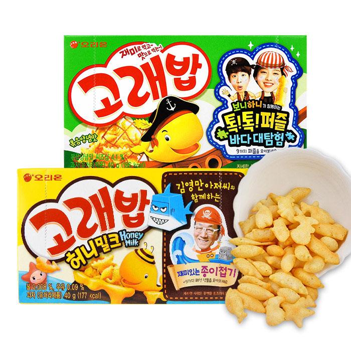 韓國 ORION 好麗友 小魚造型脆餅(蜂蜜牛奶/海苔風味)進口/團購/零食/餅乾【REJE647C】