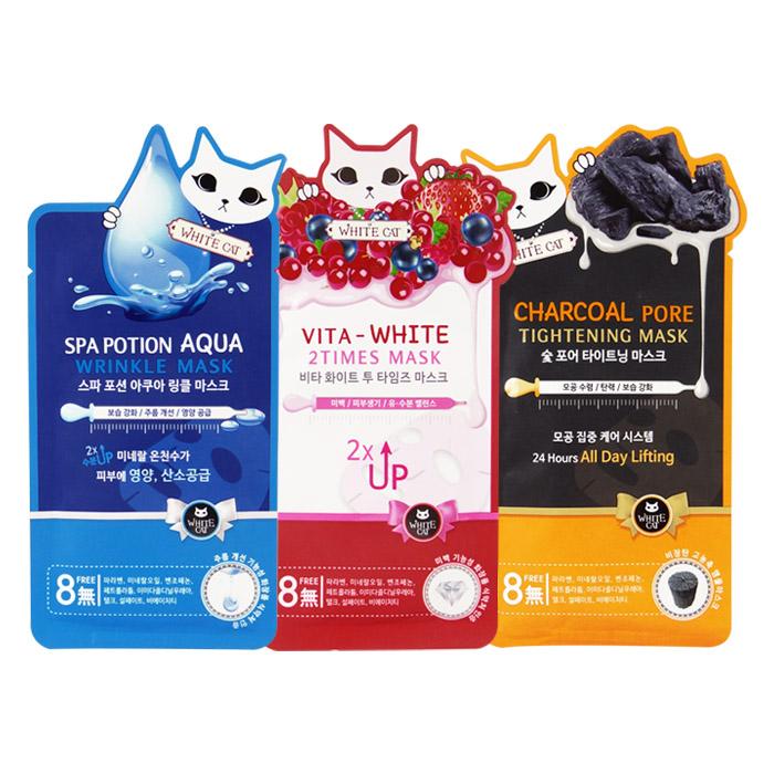 韓國 WHITE CAT 面膜 25g 單片入 保濕抗皺(藍)/美白生氣(白)/備長炭緊實(黑)【ROKE668C】