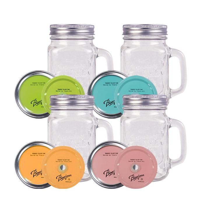 美式復古早安梅森玻璃罐/玻璃罐沙拉/玻璃馬克杯 乙入 薄荷藍/復古橘/橄欖綠/粉紅【ROLI202C】