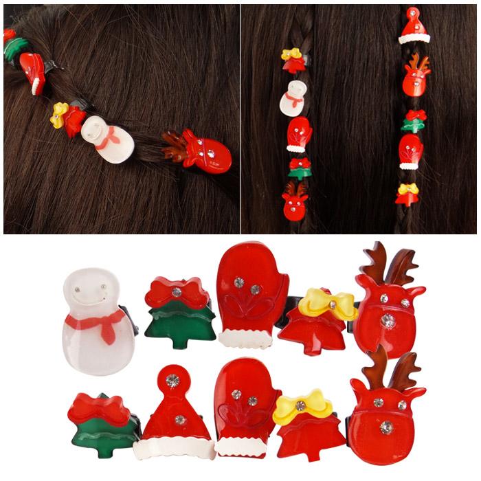 雪人小鹿聖誕樹迷你圓扣髮夾組 5入/組 隨機出貨不挑款/色【ROLI207C】