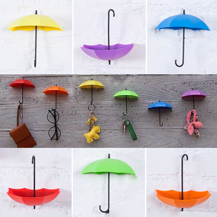 創意雨傘造型粘貼掛鉤/彩色收納支架牆壁裝飾品 乙入 隨機出貨不挑款/色【ROLI239C】