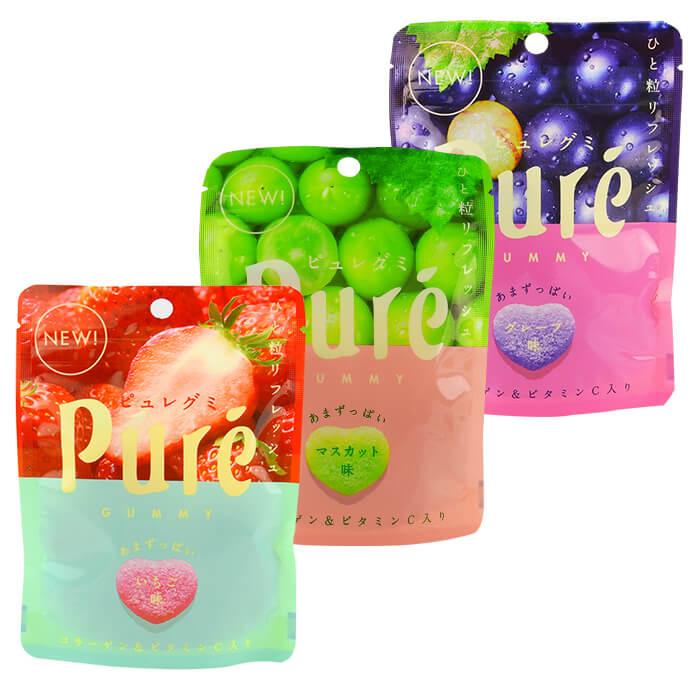 【任選2件90】KANRO 甘樂 鮮果實軟糖 45.5g (葡萄/幸福草莓/白葡萄) 進口/團購/零食/糖果【REJE629C】
