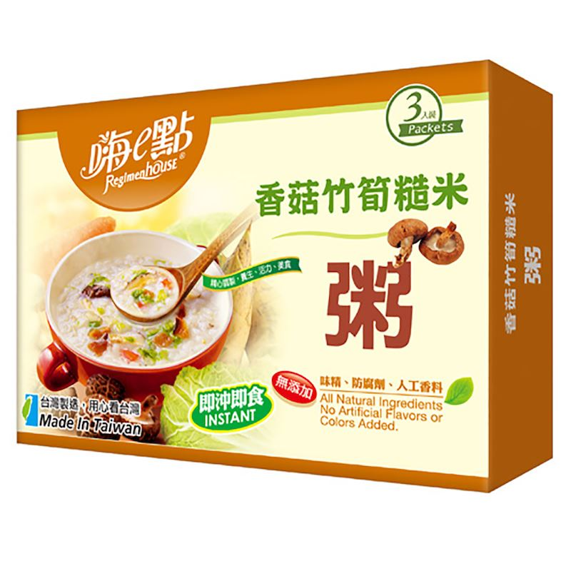 (售完)[嗨e點] 百卡養生輕美味 ~ 只要3分鐘!!! 香菇竹筍糙米粥 (3包/盒)
