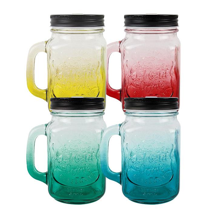 創意漸層梅森杯/造型杯/飲料杯/創意杯/隨身水乙入漸變紅/黃/綠/藍【ROLI305C】
