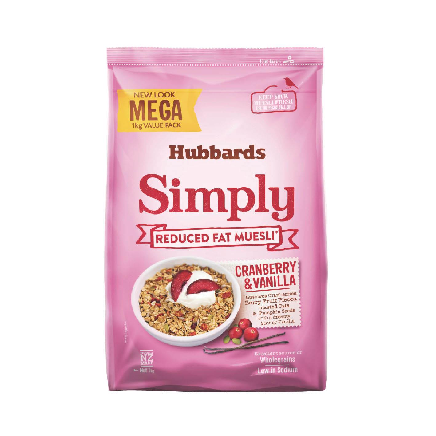 [紐西蘭Hubbards] Simply 低脂蔓越莓香草麥片(1000g/包)