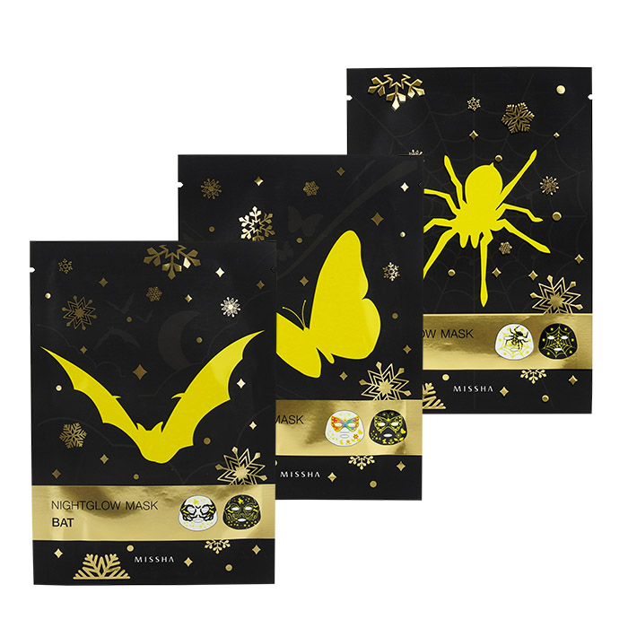 韓國 MISSHA 夜光面膜 25g 單片入 蜘蛛/蝴蝶/蝙蝠/多款可選【ROKE869C】