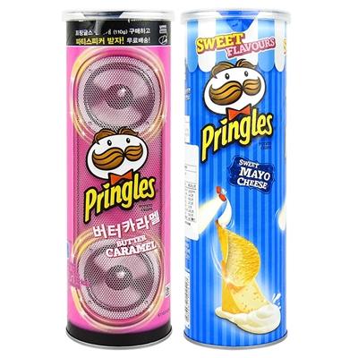 PRINGLES 品客 洋芋片 110g 焦糖奶油/起司乳酪 進口/團購/零食/餅乾/韓國限定【REJE799C】
