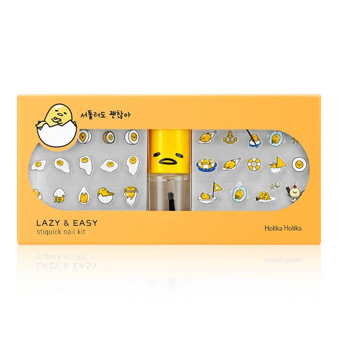 韓國 Holika Holika╳gudetama 蛋黃哥指甲貼套組(透明指甲油*1+指甲貼*1)【RKHH067C】