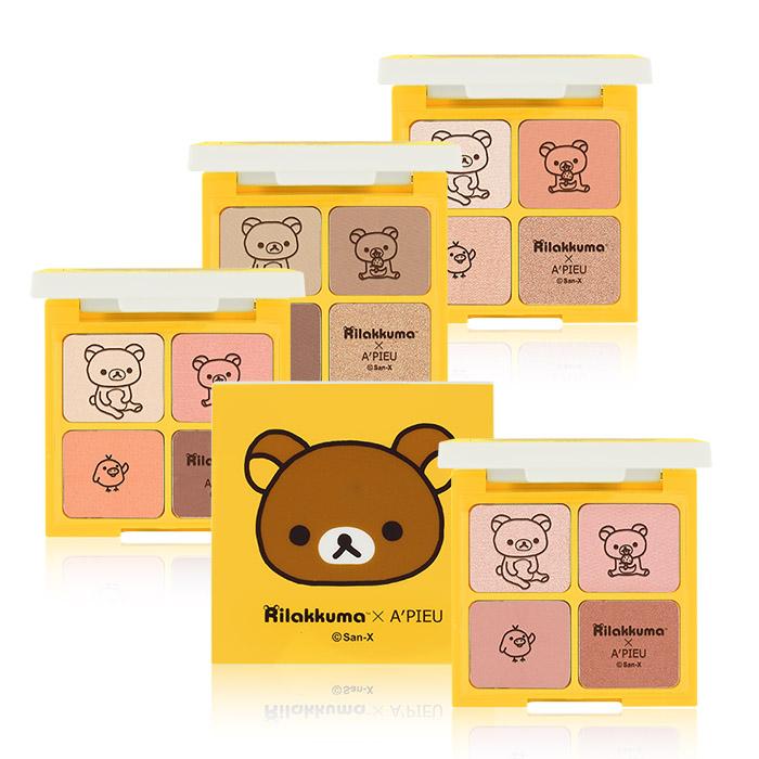 韓國 Apieu╳Rilakkuma 拉拉熊4色眼影盤 7.6g 多色可選【RKAP077C】