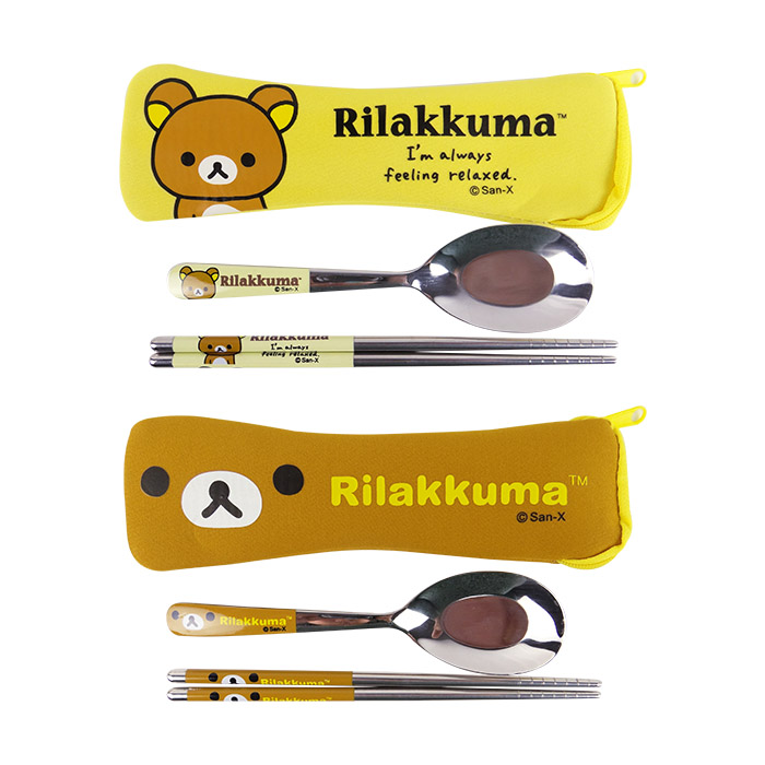 拉拉熊 OPP袋潛水布不鏽鋼餐具組 乙組入 環保餐具/筷子/湯匙多款可選【ROLI351C/ROLI244C】