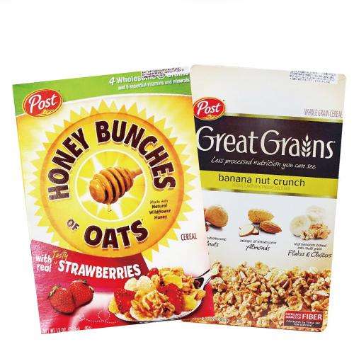 [美國Post] 草莓蜂蜜穀物燕麥片 (368g/盒)&[美國Post] 多層次口感吃得到!香蕉堅果穀物燕麥片 (439g/盒)精選組