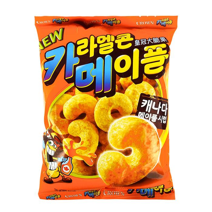 韓國 CROWN 皇冠大脆果 74g 楓糖口味進口/團購/零食/餅乾【REJE857C】