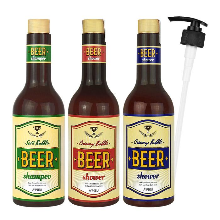 韓國 Apieu 啤酒沐浴露/洗髮精(附壓頭) 555mL 三款可選【RKAP106C】