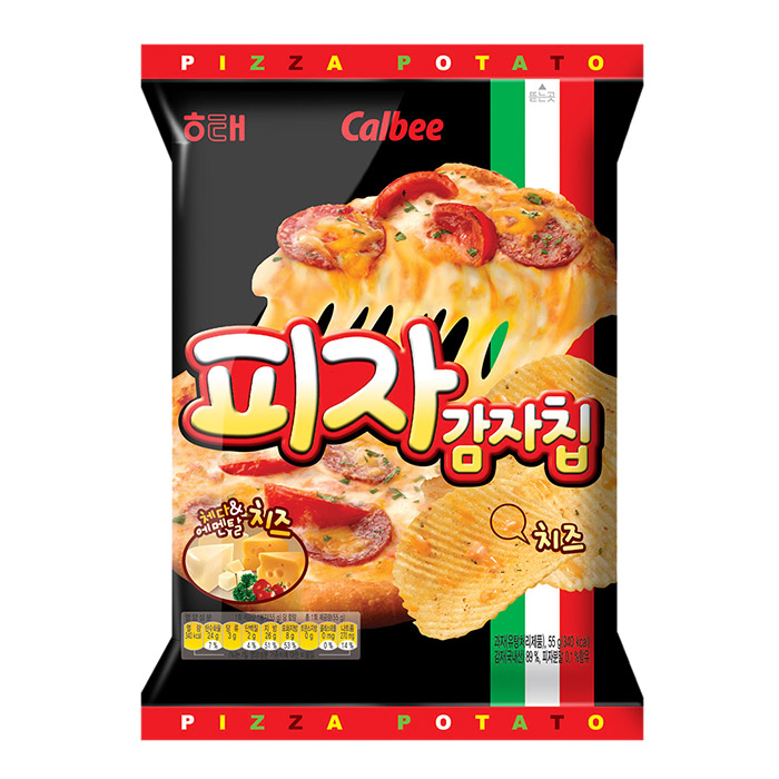 韓國 HAITAI 海太 Calbee 波浪薯片 55g 比薩口味/團購/零食/餅乾【REJE906C】
