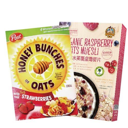 [米森] 有機水果覆盆莓麥片 (不甜) (400g/盒)&[美國Post] 草莓蜂蜜穀物燕麥片 (368g/盒)酸甜組