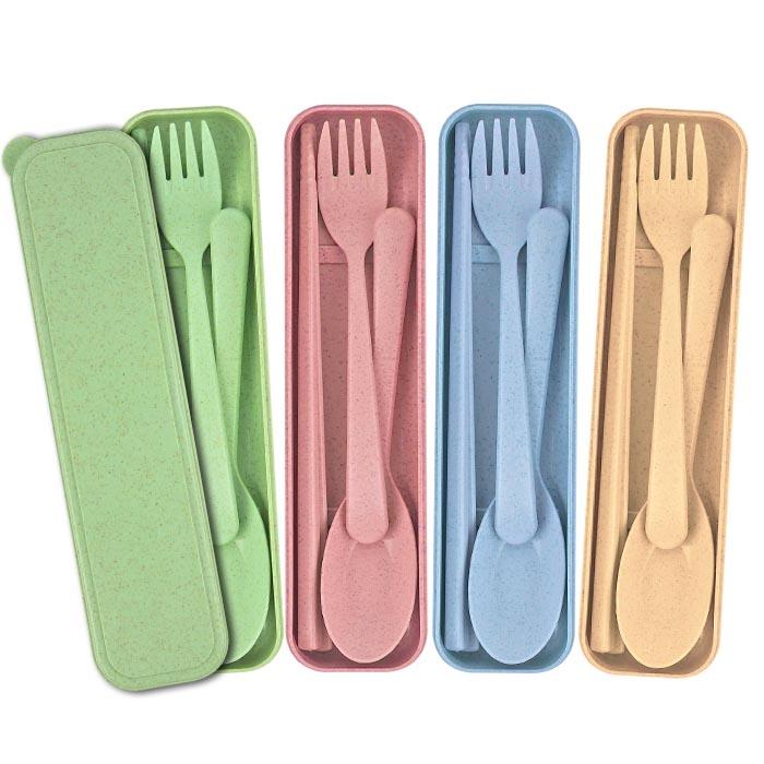 小麥秸稈野營餐具兒童旅行學生便攜筷子叉勺三件套組 乙組入 隨機出貨不挑款/色【ROLI429C】