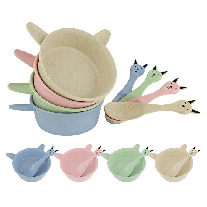小麥秸稈防燙防摔卡通兔子碗勺餐具 乙組入 隨機出貨不挑款/色【ROLI428C】