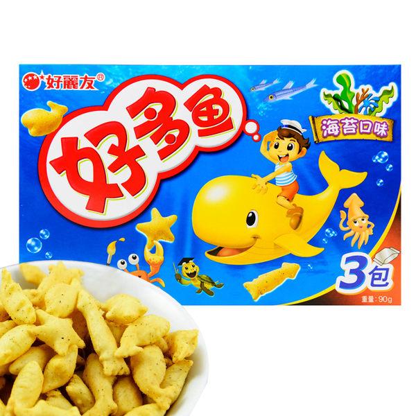 韓國 好麗友 好多魚餅乾 (海苔口味) 90g 三包/盒 (進口/團購/零嘴/餅乾)【REJE156C】