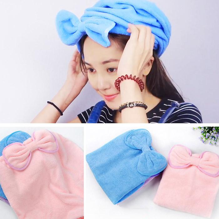 可愛蝴蝶結乾髮帽浴帽 韓國卡通乾髮巾洗髮帽(36×32)【RSOTH76C】