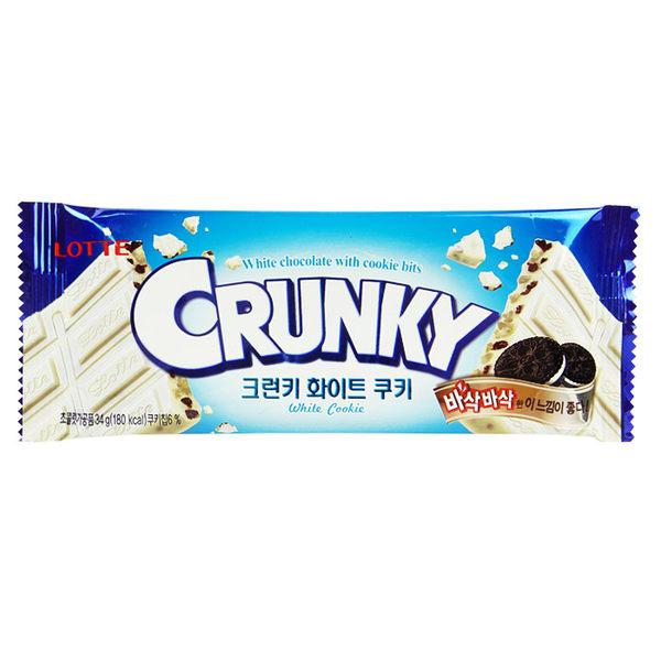韓國 LOTTE 樂天 CRUNKY 牛奶餅乾巧克力片 34g 進口/團購/零食/餅乾【REJE288C】