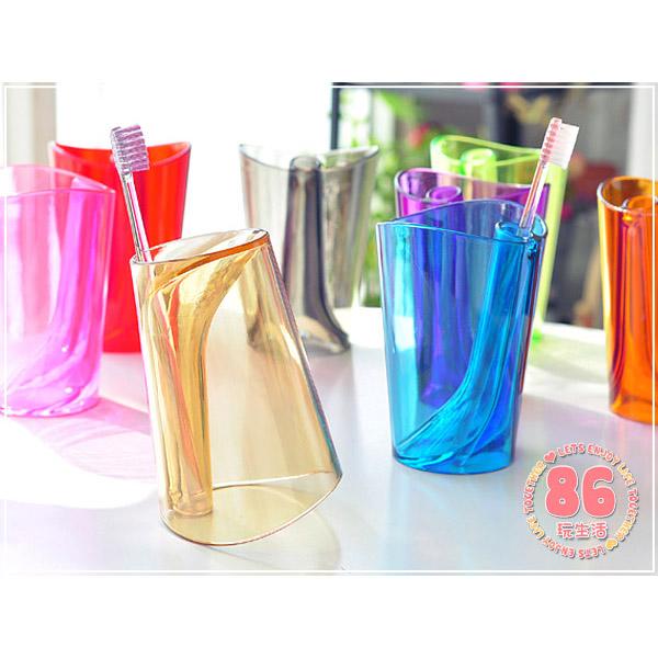 多功能5色傾斜二合一洗漱杯 盥洗用具 漱口杯/牙刷架 不挑款【RSOTG05P】