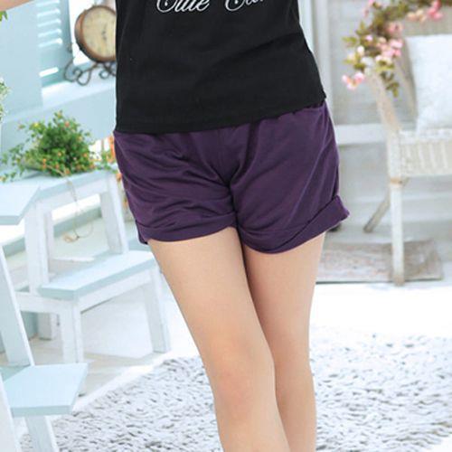 Ringbear~休閒 .抽繩下擺反折鬆緊褲頭短褲~R105~ 黑、紅、紫S~XL