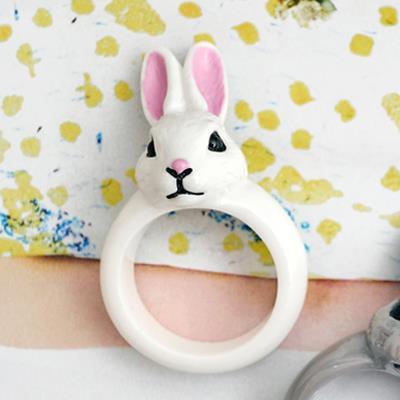 〔APM飾品〕 Gargle 奇蹟物語童話彩兔戒指  抗過敏   白兔兔   灰兔兔