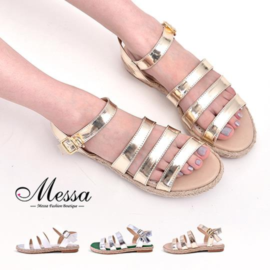~Messa米莎專櫃女鞋~MIT 渡假風情三寬帶側扣麻編涼鞋~三色