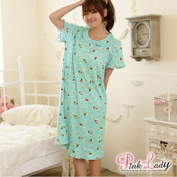 PinkLady可愛米妮玫瑰^~純柔棉舒適居家洋裝型睡衣^(綠^)2104