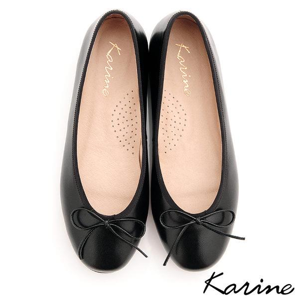 karine MIT 製 全真皮芭蕾舞平底娃娃鞋~黑色