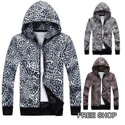 Free Shop~QMD81012~ 潮流街頭豹紋圖騰全拉鍊 連帽風衣外套‧ 三色