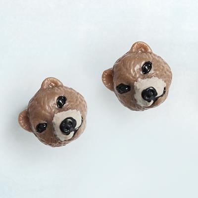 〔APM飾品〕 Gargle 療癒神情胖熊寶寶耳環  抗過敏   咖啡熊   白熊
