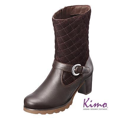 雙皮料 格紋短靴 沉穩咖K15WF058088 ‧牛皮‧中跟‧菱格‧跟鞋‧靴子~Kimo德