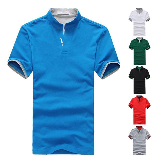 日韓風格素色LAISO印花袖口撞色拼接立領短袖POLO衫有大  六色 ~QTJT01A~