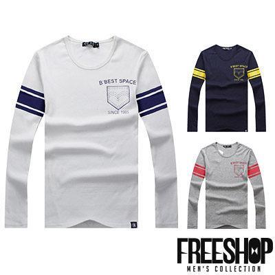 Free Shop~QSPG1205~美式休閒假口袋 印花圓領棉質長T長袖上衣潮T 情侶款