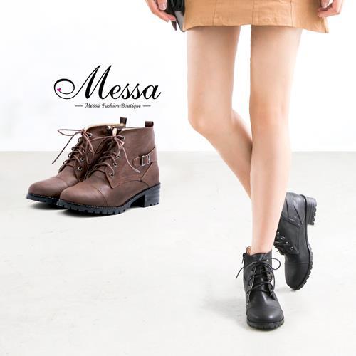 ~Messa米莎專櫃女鞋~MIT 學院風繫帶側拉鍊牛津粗跟短靴~二色