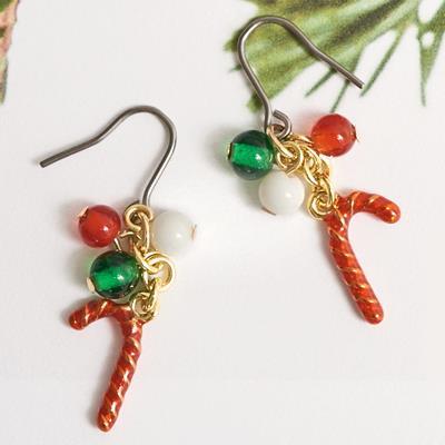〔APM飾品〕 Gargle 迷幻聖誕繽紛拐杖糖耳環(抗過敏)