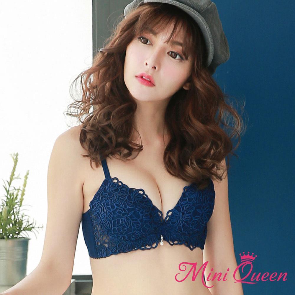 爆乳內衣~玫瑰童話~MiniQueen 刺繡J型鋼圈繡托高集中成套內衣(藍色7075BCD