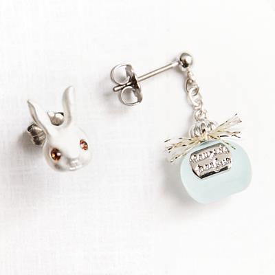 〔APM飾品〕 Kaza 貴族兔的優雅香氛耳環組  抗過敏   粉紅款   藍色款