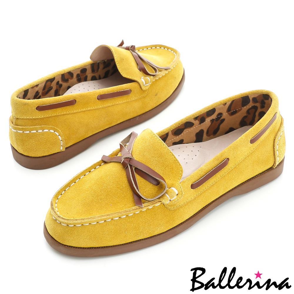 ~ 特惠▼999元~Ballerina~減壓柔軟‧全真皮穿繩蝴蝶結帆船鞋~黃