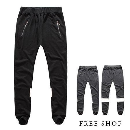 FreeShop~QJFK3723~日韓風格皮革拼接 口袋拉鍊抽繩彈性彈力飛鼠褲棉褲長褲^