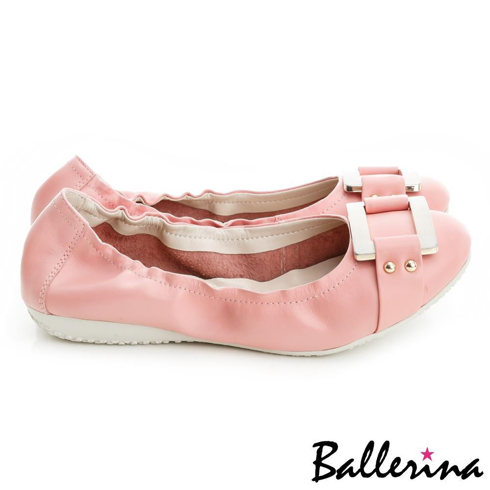 ~ 踏青鞋▼全面8折~Ballerina~柔軟彎曲.全真皮金屬方釦皮帶娃娃鞋~粉