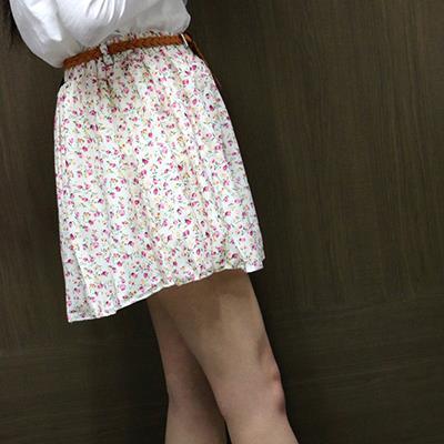 雪紡大裙擺短裙 附腰帶  衣櫃控~WardrobE AA~A015
